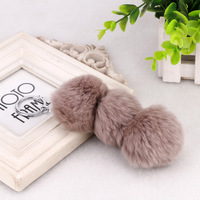 Cute Color Mixed Rabbit Hair Animal Fur Car Key Chain Alloy Three Colorful Chuzzle Handbag Pendant Keyring Jewelry For Women