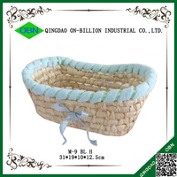 Wholesale cheap cute mini straw basket with bowknot