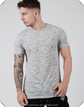 Heather Grey Short Sleeve Sport Shirt Spandex Polyester Dry Fit T Shirt Muscle Fit Gym T Shirt Bulk Wholesale Fitness Clothing