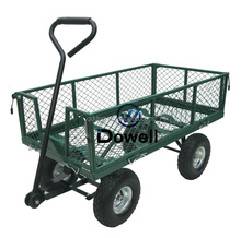 Garden steel mesh cart trolley Garden nursery pull cart trolley wagon Greenhouse utility cart