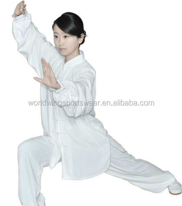 Ladies plain white cotton maid comfortable soft common Taiji Kungfu suits
