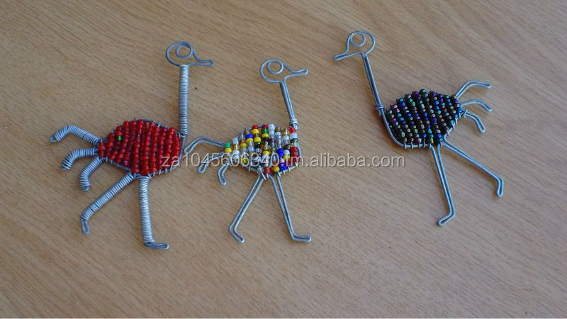 Ostrich Wire beaded Key Chain