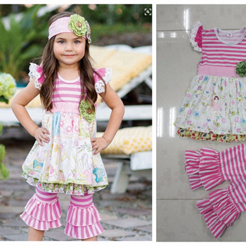 CONICE NINI brand giggle moon remake outfits back to school flutter sleeve dress Children's Clothing outfits Sets