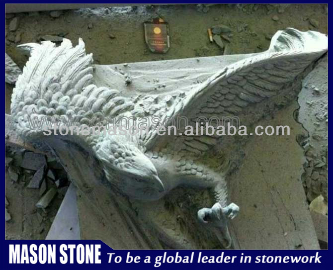 Hand carved white marble eagle sculpture
