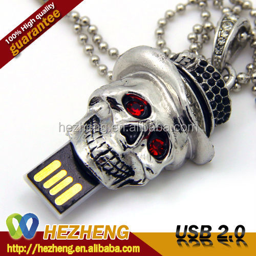 Skull Shape Jewelry USB 2GB Pendrive With Necklace