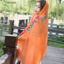 linen and cotton blend embroider Dubai hijab wholesale muslim hijab scarf