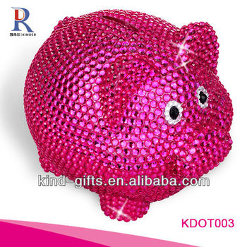 Hot Sale Christmas Gift Bling Rhinestone Glass Piggy Bank With Crystal China Supplier