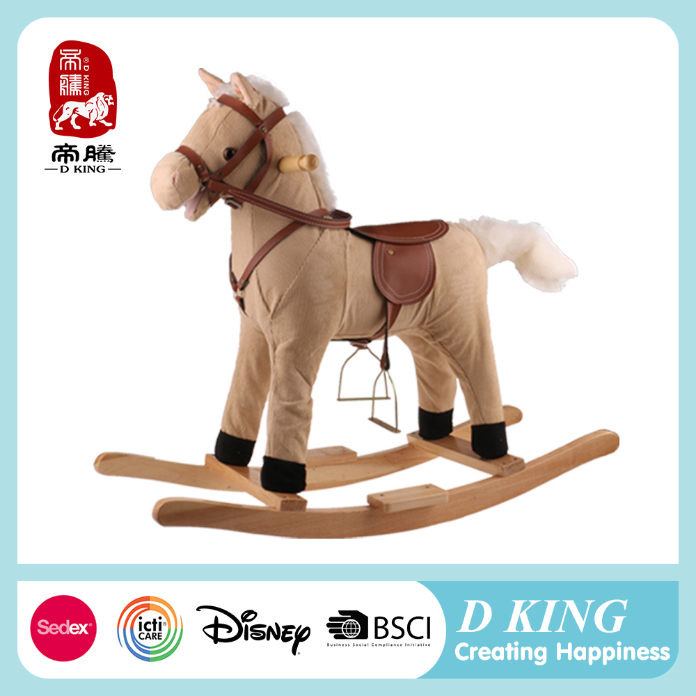 EN71 wooden and saddle for rocking horse toy with sound and movement