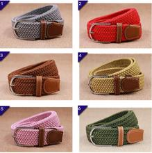 Men's Stretch Braided Elastic Woven Canvas Buckle Belt