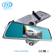 "Car Dvr Rearview Mirror Video Recorder 5.0"" Inch Car Camera Three Lens Car Cam Night Vision"