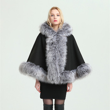 Wholesale fashionable fluffy faux fox fur trim fake fur cape