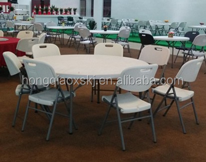 1.6m blow mold plastic banquet rotating round folding table with steel legs folding round table