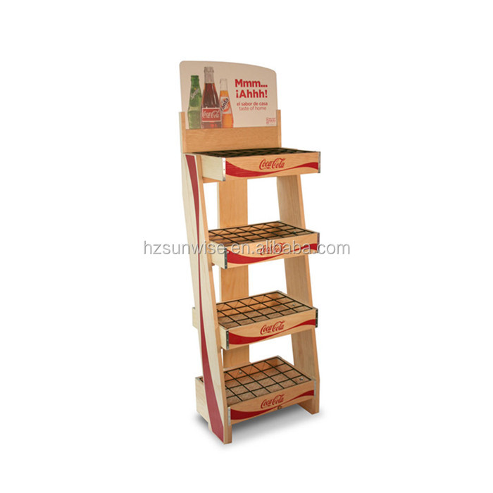 Custom made wooden 4 tier store soft drink display stand for sale