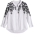 king young women long sleeve single-breasted design white button up shirt Floral Embroidered Blouse
