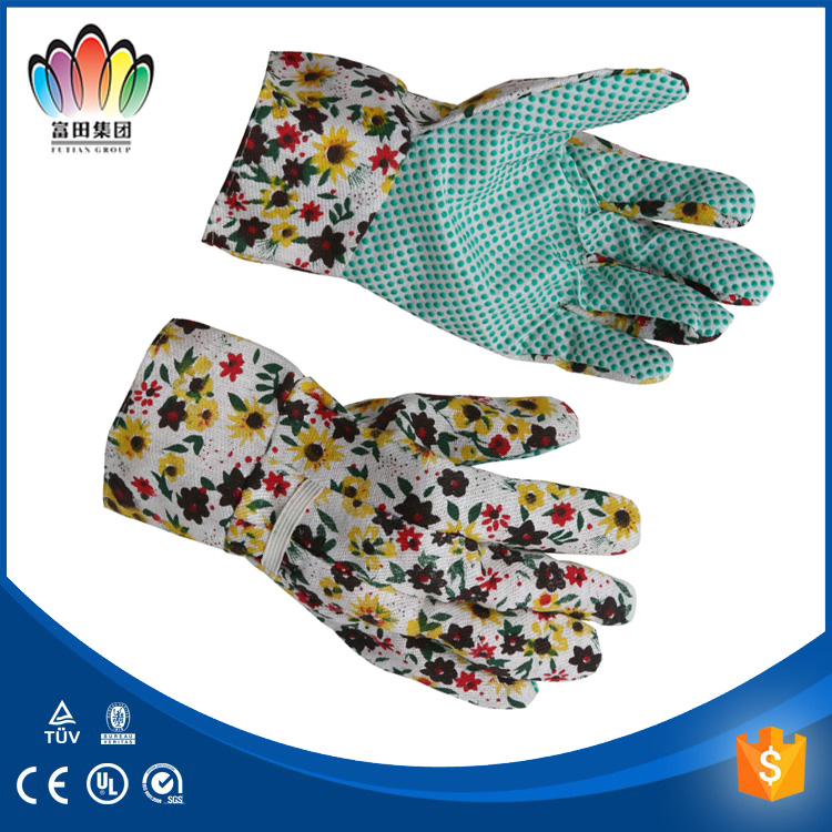 FT SAFETY Cotton/Polyeater Fabric Garden Working Gloves With PVC Dots, Floral Print gloves
