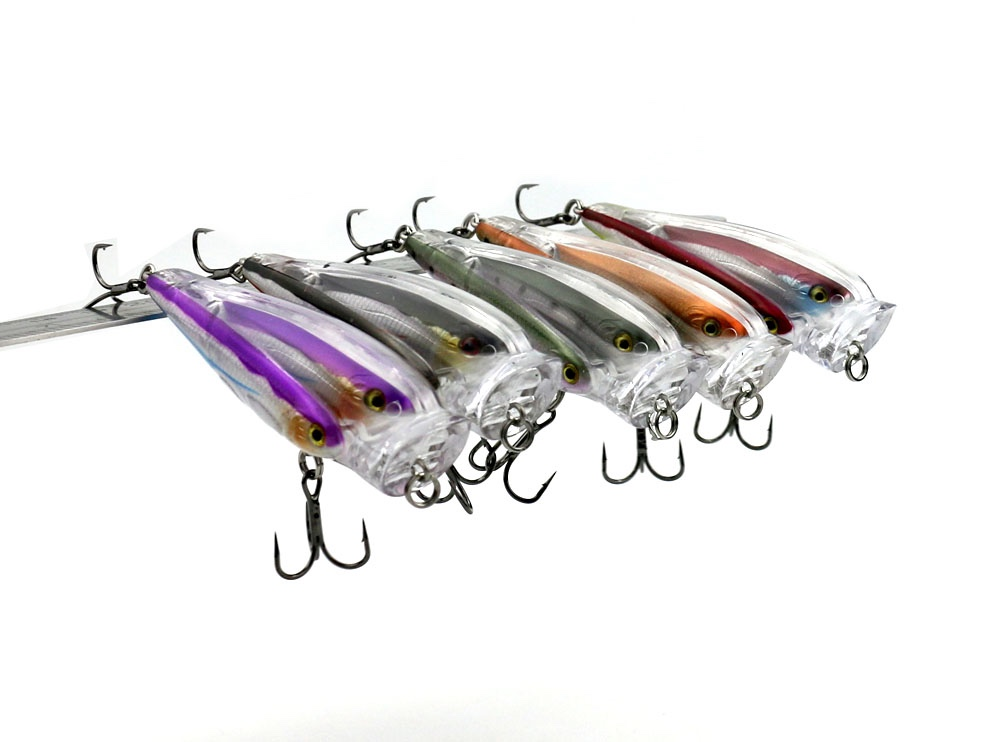 New arrival plastic popper 3 fish in one fish school 8cm 12.8g Floating popper fishing lure