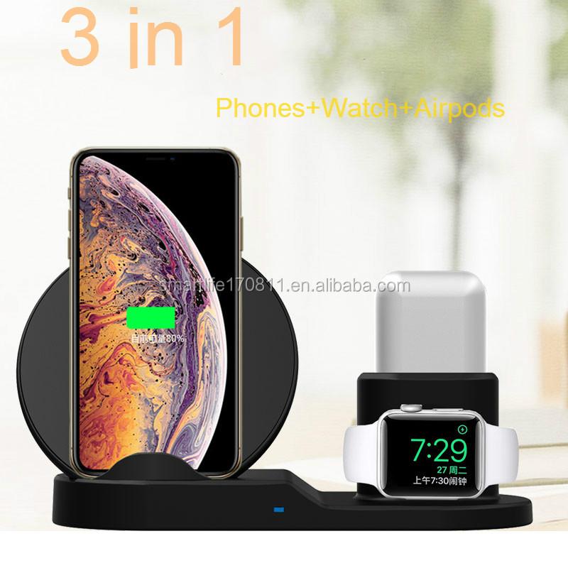 10W 7.5W 3 dans 1 Support de Chargeur Sans Fil Station de Recharge Rapide Sans Fil Station D'accueil pour iPhone apple watch - ANKUX Tech Co., Ltd