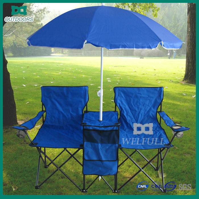 Leisure folding camping double chair with umbrella