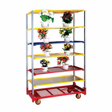 Flower display stands outdoor wooden flower carts round flower pot trolleys