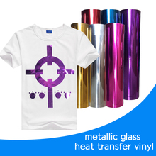 PU Flex customer design metallic glass heat transfer vinyl for clothing