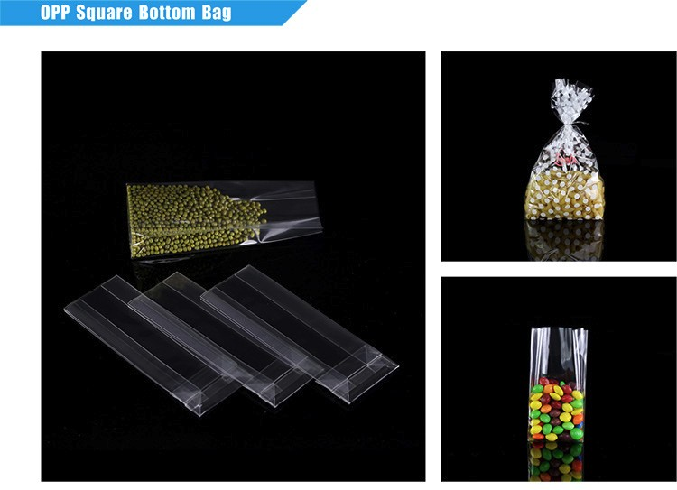 Cellophane Gusset Plastic Opp Square Bottom Bag For Candy Packaging