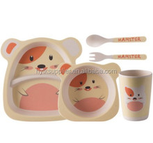 ECO-friendly bamboo fiber 5 pieces kids dinner set tableware