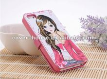 leather flip cover for Iphone5 case,for new iphone with folio case
