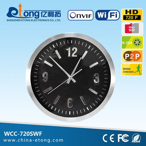 Perfect covert wall clock cmos hidden 3.7mm pinhole wifi ip camera with mobile surveillance