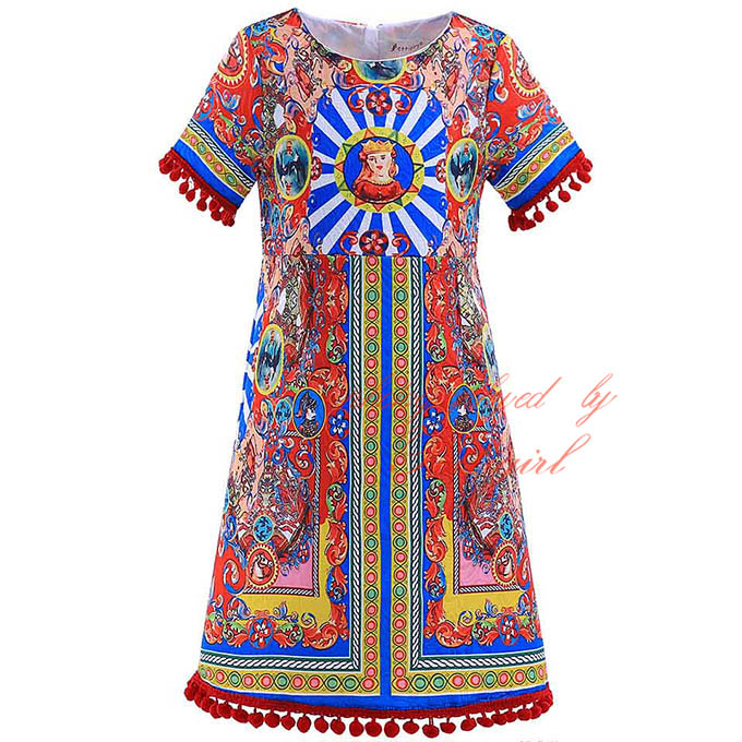 Hot seller Girls Dresses Fashion Italy Girl Printed Dress Cute Kids Clothing GD90325-727F