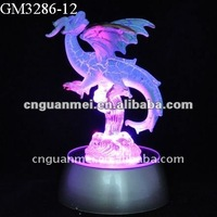 Wholesale glass western dragon with LED changing color