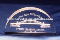3D Laser Engraved Sydney Harbour Bridge Crystal Souvenirs Crystal Paperweight Arch
