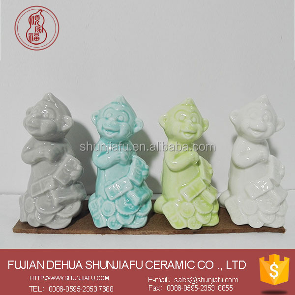 Lucky Ceramic Monkey Small Figurines For Home Decor