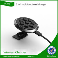 HC-W2 2 in 1 multifunctional qi wireless charger with In car sucker phone holder function for galaxy s5 mini size and lemovo