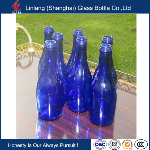 Linlang well saled glass products,Collection of 7 Cobalt Blue Soda Bottles 75 cl Mineral Water Bottles
