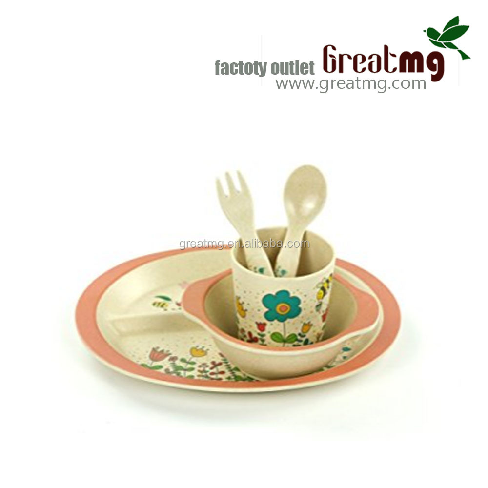 Eco-friendly bamboo fiber dinnerware sets for kids with spoon, plate and bowl