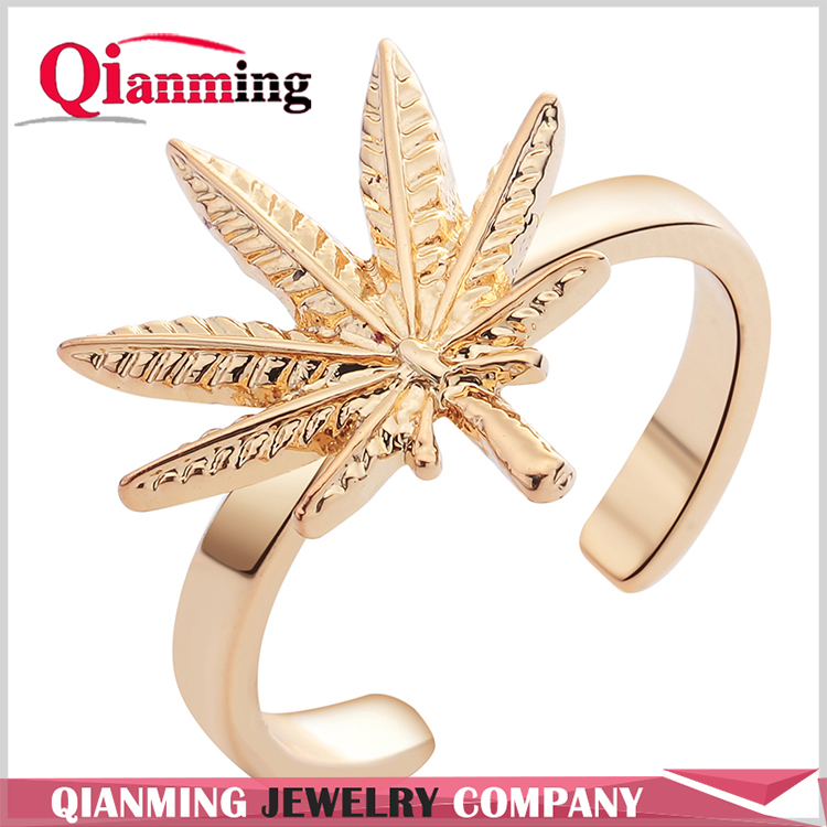 Natural Inspired Delicate Maple Leaf Open Band Ring Adjustable Minimalist Jewelry Band Midi Ring for Women Girl Gift