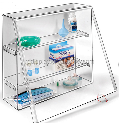 Custom acrylic emergency crash box/ medical products display racks/medical supplies case