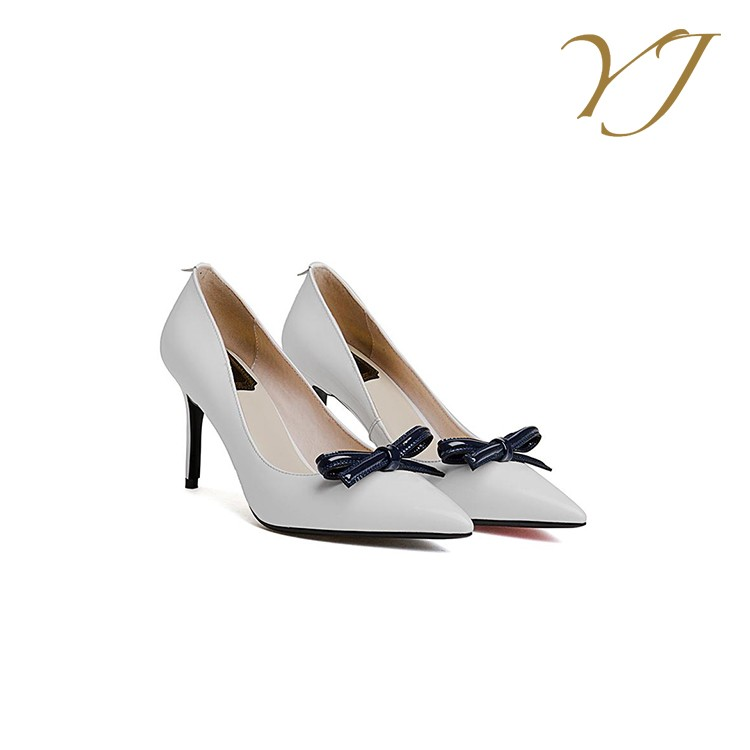 High quality cheap price genuine leather sexy bowknot women high heels stock women' fashion high heel shoe