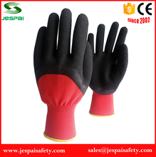 red polyester coated black latex cheap and fine garden gloves