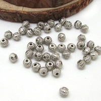 JS0920 Antique silver plated metal rondelle spacer beads