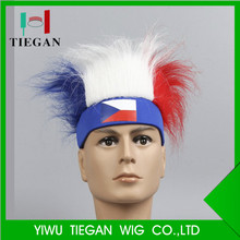 2018 World Cup Czech football fans wig for sponsor promotion gift /hairy headband spirit hair headband fans headband