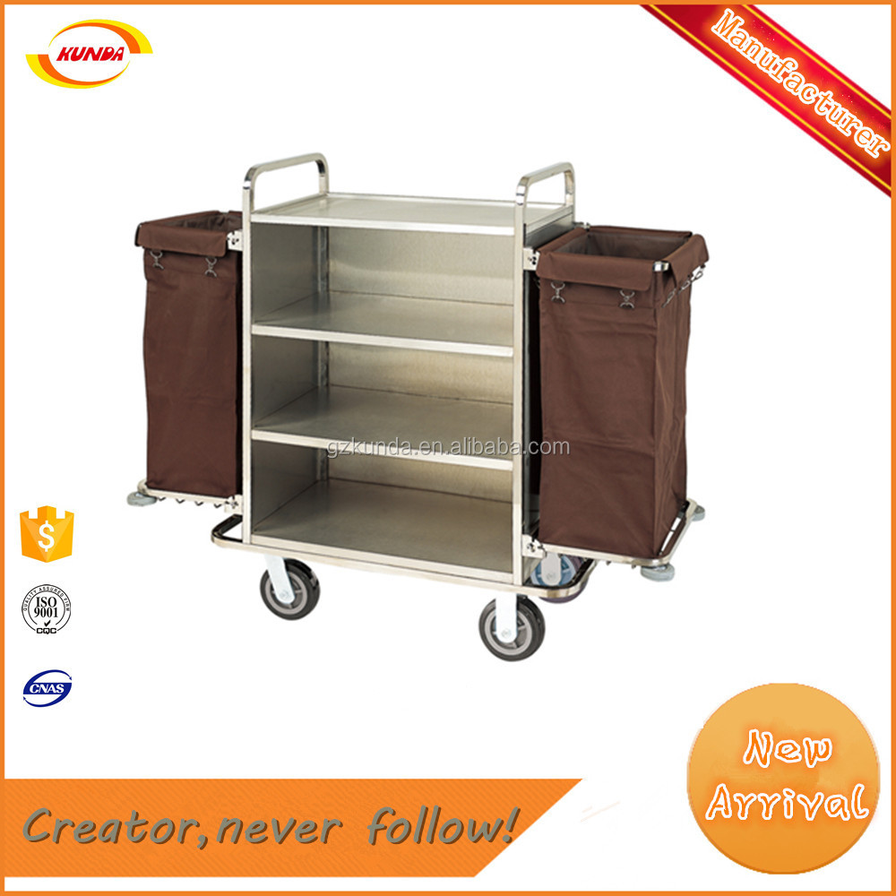 hotel housekeeping cleaning linen cart 4 wheels maid trolley for hotel Kunda C-028