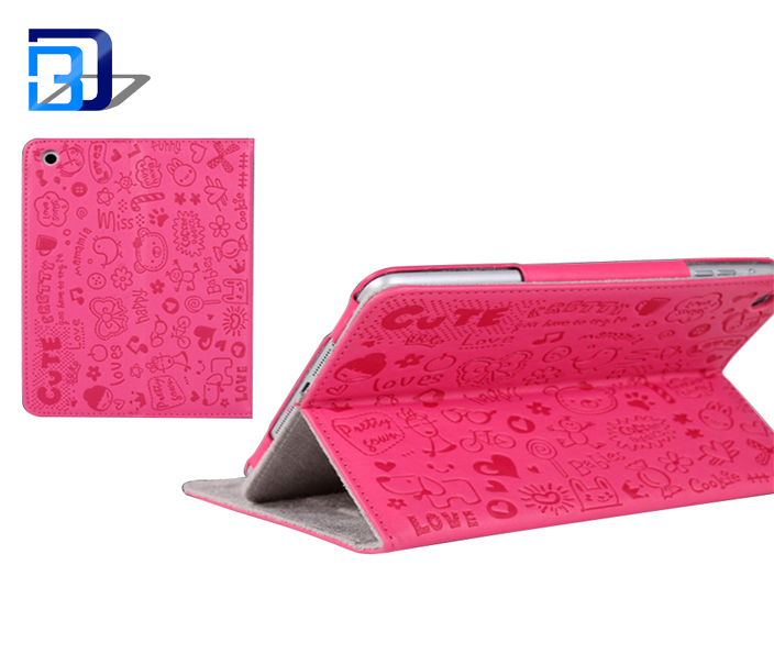 alibaba stock price cartoon relief printing 360 protective flip stand cover leather tablet case for iPad 2