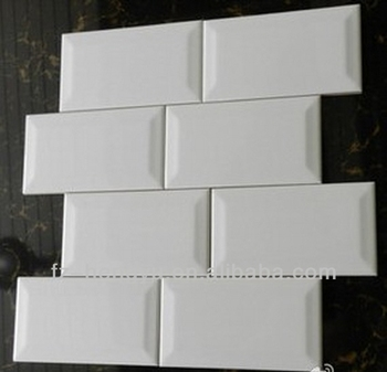 hot sales beveled subway tile waterproof white tile 75x150mm
