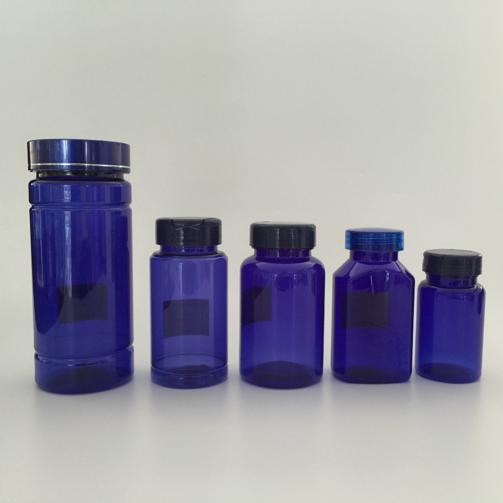 TOP SELLER 250ml pill food health care personal care deep blue chamshell PET bottle