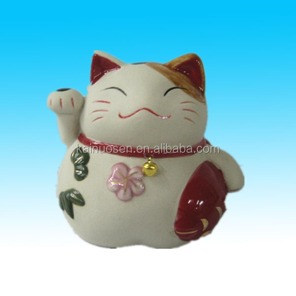 Good luck handpainted large ceramic lucky cat for sale