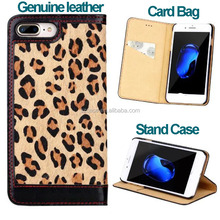 Fashion Genuine leather Leopard grain Style mobile phone case for Iphone 7