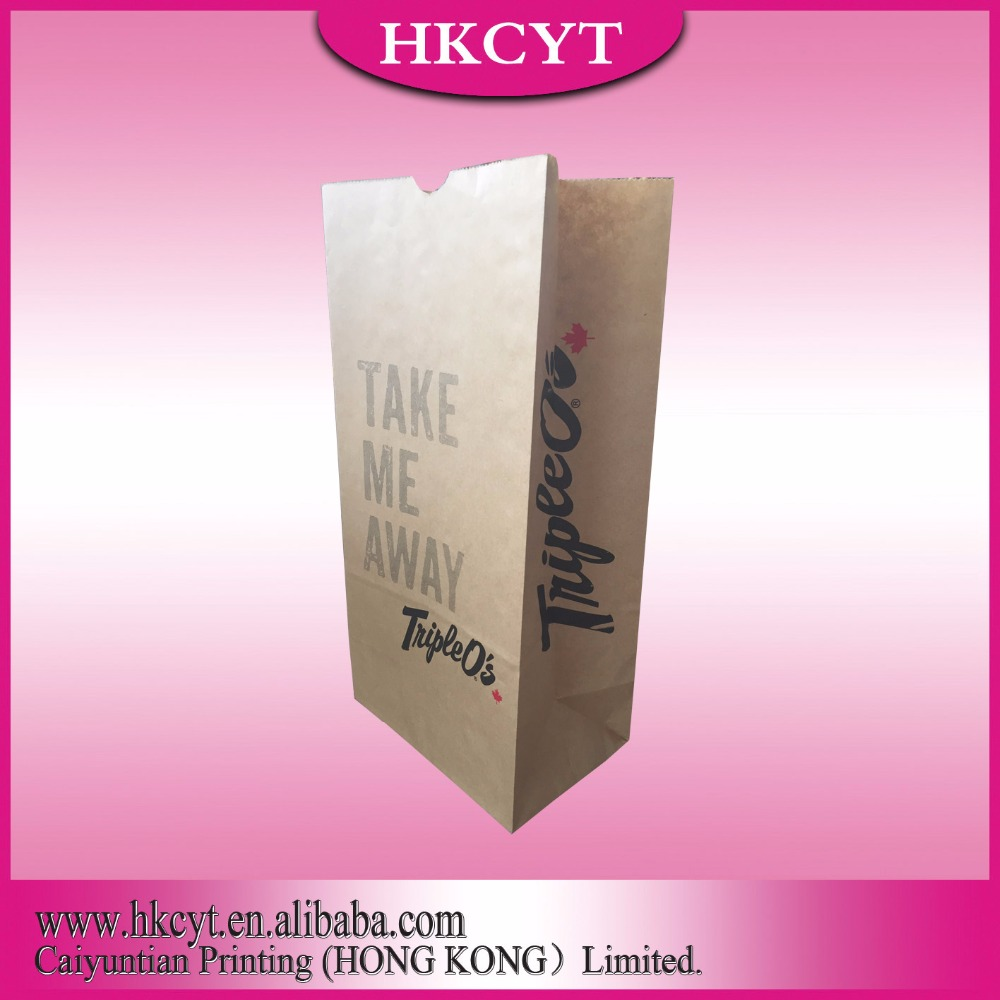 Factory Price Disposable Large Brown paper grocery bags,fast food packaging bags