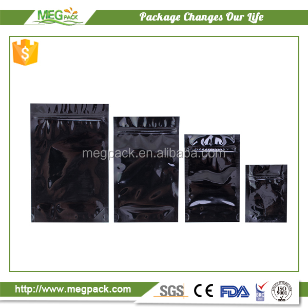 black mylar bags ziplock/stand up zipper plastic pouch mylar bag