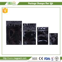 black mylar bags ziplock/stand up zipper plastic pouch mylar bag